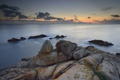 Картинка пляж, камни, океан, рассвет
