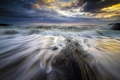 Картинка море, волны, пляж, облака, восход, потоки