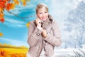 Картинка осень, девушка, листья, сероглазая, улыбка, блондинка, зима