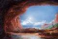 Картинка вода, пейзаж, арт, реки, грот, путники