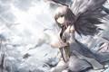 Картинка девушка, капли, тучи, крылья, ангел, арт, солнечные лучи
