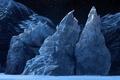 Картинка лед, звезды, ночь, арт, льдины, глыбы