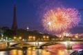 Картинка река, Paris sunset, ночь, город, салют, Париж, France - July 2012