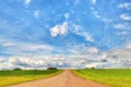 Картинка дорога, поле, небо, облака, пейзаж, природа, wallpaper