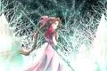 Картинка зима, небо, девушка, звезды, снег, оружие, аниме