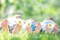 Картинка дети, ребенок, боке, трава, цветы