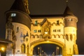 Картинка ночь, огни, башня, ворота, Германия, Рейнланд-Пфальц, Трабен-Трарбах