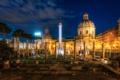 Картинка ночь, город, фото, Италия, развалины, Rome, Trajans Forum