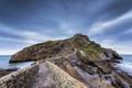Картинка дорога, море, скала, камни, обрыв, берег