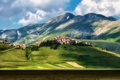 Картинка grass, mountain, italy, castle, town, castelluccio