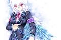 Картинка девушка, ленты, оружие, крылья, катана, аниме, арт