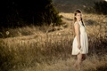 Картинка закат, поле, настроение, девочка