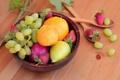 Картинка листья, ягоды, апельсин, клубника, виноград, груша, фрукты