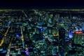 Картинка ночь, город, огни, здания, панорама, Canada, небоскрёбы