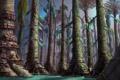 Картинка вода, деревья, мост, дома, арт, постройки, гигантсике