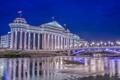 Картинка ночь, мост, огни, река, парламент, Македония, Скопье
