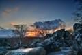 Картинка небо, облака, закат, камни