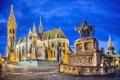 Картинка небо, ночь, огни, площадь, памятник, церковь, будапешт