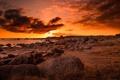 Картинка море, закат, камни, берег, огненный