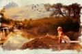 Картинка обломки, девушка, птицы, озеро, дерево, арт, кувшинки