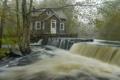 Картинка пейзаж, природа, дом, река, водопад, утро