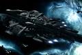 Картинка космос, звезды, туманность, корабли, флот