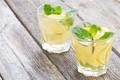 Картинка мята, стаканы, лимонад, лимон, напиток