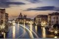 Картинка река, Венеция, канал, вечер, огни, город, архитектура