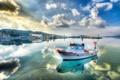 Картинка море, небо, облака, отражение, побережье, лодка, Турция