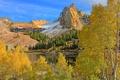 Картинка осень, снег, деревья, горы, природа, озеро, Юта
