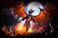 Картинка металл, пламя, луна, рисунок, крылья, фэнтези, рок