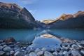 Картинка небо, деревья, закат, горы, природа, озеро, отражение