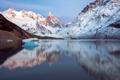 Картинка зима, горы, отражение, снег, озеро