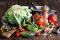 Картинка масло, натюрморт, овощи, помидоры, капуста, огурцы