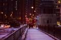 Картинка зима, снег, ночь, мост, город, огни, люди