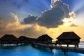 Картинка море, пейзаж, закат, мост, дома