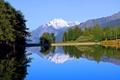 Картинка небо, деревья, горы, озеро, парк, скамья