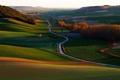 Картинка дорога, осень, трава, деревья, закат, холмы, Испания