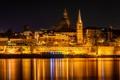 Картинка Мальта, купол, ночь, башня, море, огни, дома