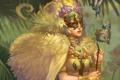 Картинка девушка, цветы, лицо, птица, крылья, перья, платье