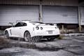 Картинка белый, заросли, склад, Nissan, gtr, заброшеный