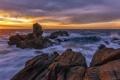 Картинка закат, пейзаж, скалы, море