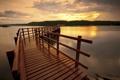 Картинка закат, пейзаж, мост, озеро