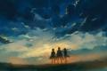 Картинка арт, люди, трава, вечер, облака