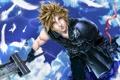 Картинка оружие, меч, перья, арт, лента, парень, Final Fantasy
