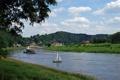 Картинка деревья, река, корабль, Германия, луг