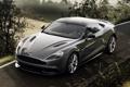Картинка дорога, поле, серый, фон, Aston Martin, суперкар, кусты