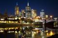 Картинка ночь, мост, город, огни, река, пальмы, небоскребы