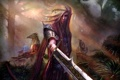 Картинка лес, взгляд, эльф, арт, фэнтази, оружие. меч