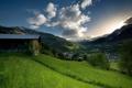 Картинка пейзаж, горы, дома, долина
